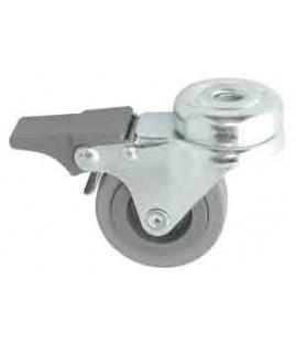 Roulette caoutchouc pivotante à frein chape zinguée ø 50 mm