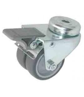 Roulette double caoutchouc pivotante à frein chape zinguée ø 50 mm