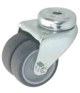 Roulette double caoutchouc pivotante chape zinguée ø 50 mm