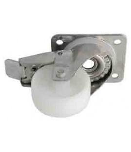 Roulette polypropylène pivotante à frein chape inox