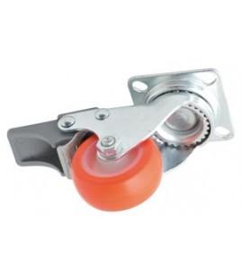 Roulette caoutchouc pivotante à frein chape à platine zinguée très faible hauteur ø 40 mm